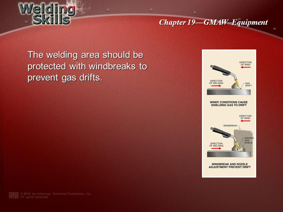 The welding area should be protected with windbreaks to prevent gas drifts.