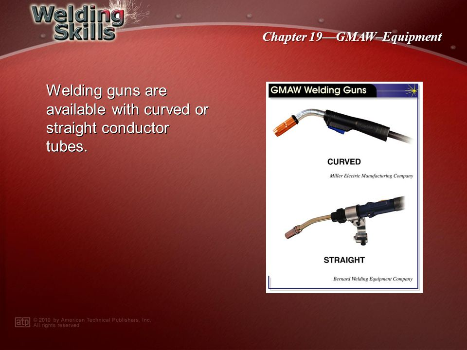 Welding guns are available with curved or straight conductor tubes.