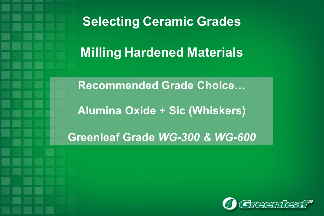Selecting Ceramic Grades Milling Hardened Materials