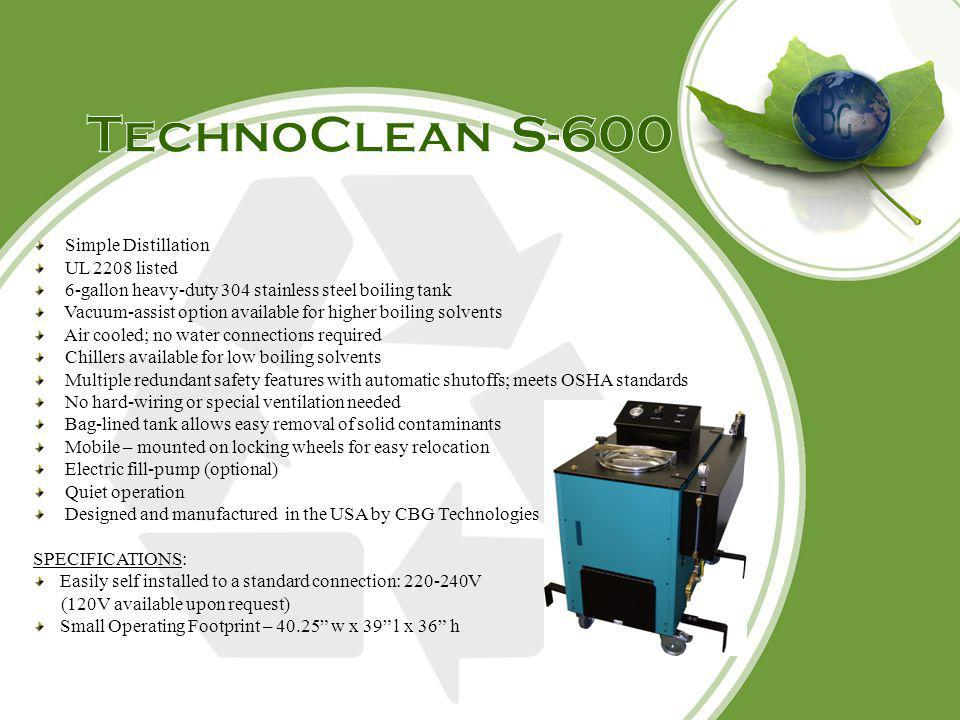 TechnoClean S-600 Simple Distillation UL 2208 listed