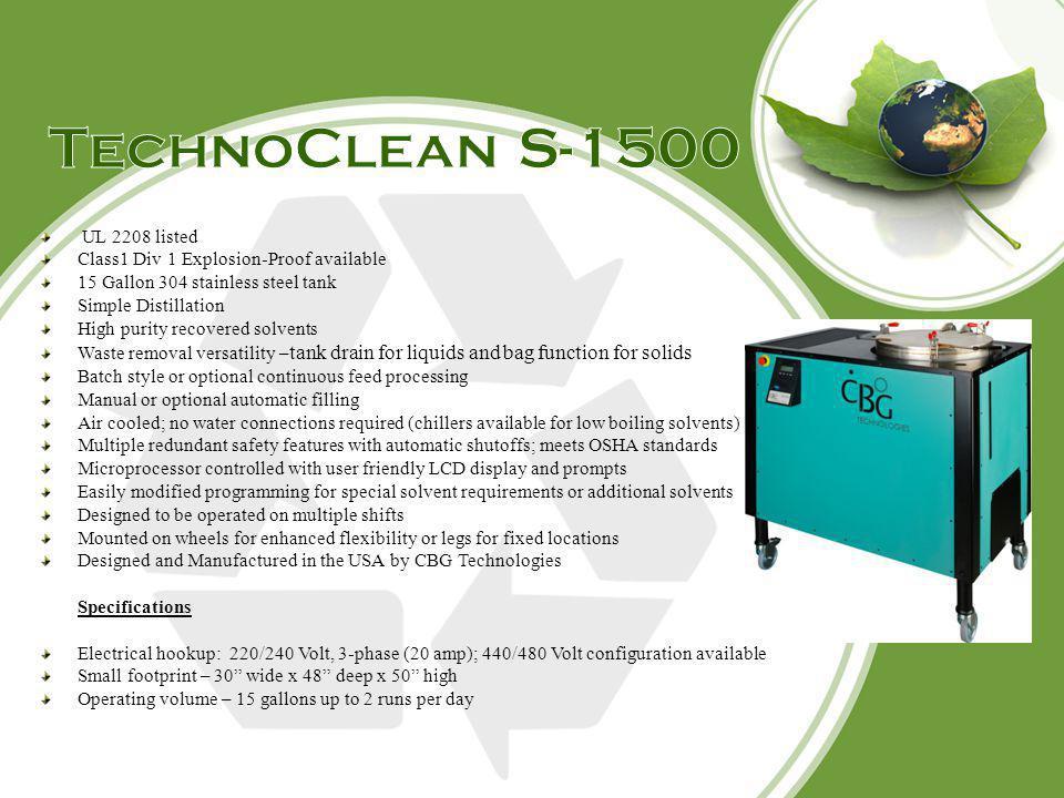 TechnoClean S-1500 UL 2208 listed
