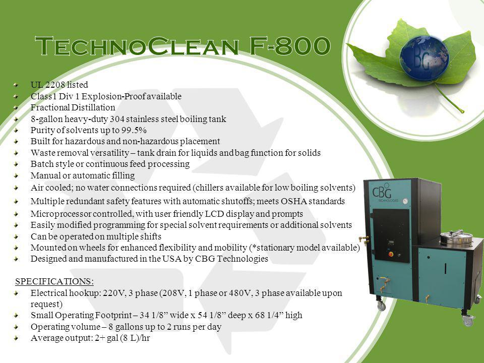 TechnoClean F-800 UL 2208 listed