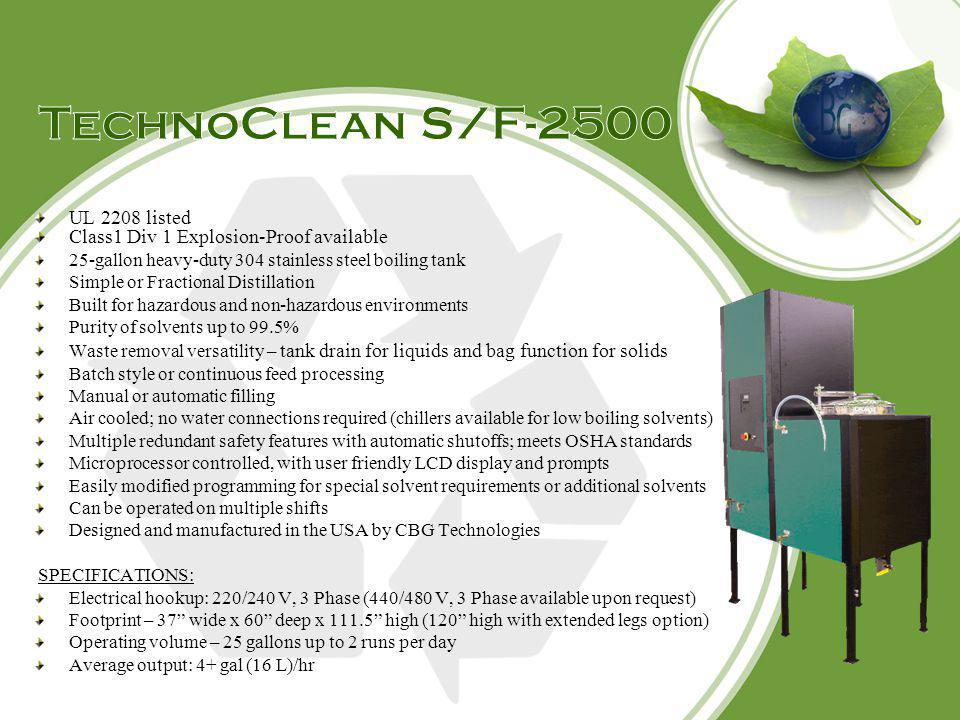 TechnoClean S/F-2500 UL 2208 listed