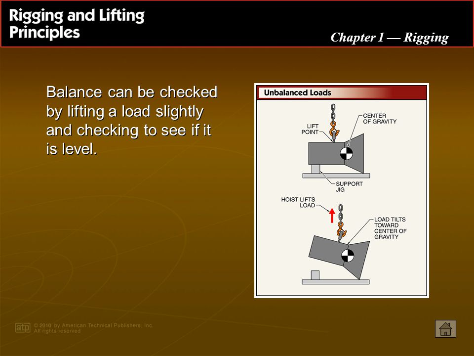 Balance can be checked by lifting a load slightly and checking to see if it is level.