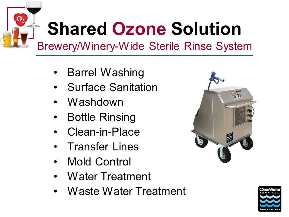 Shared Ozone Solution Brewery/Winery-Wide Sterile Rinse System