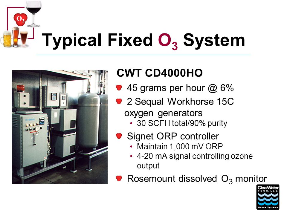 Typical Fixed O3 System CWT CD4000HO 45 grams per hour @ 6%