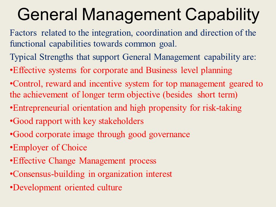 General Management Capability