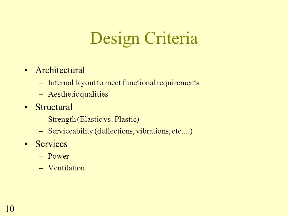 Design Criteria Architectural Structural Services