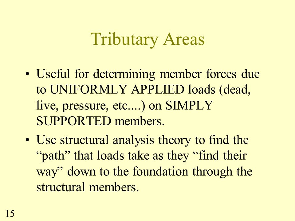 Tributary Areas Useful for determining member forces due to UNIFORMLY APPLIED loads (dead, live, pressure, etc....) on SIMPLY SUPPORTED members.