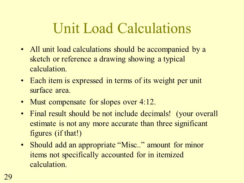 Unit Load Calculations