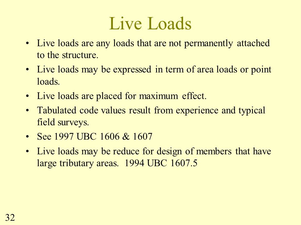 Live Loads Live loads are any loads that are not permanently attached to the structure.