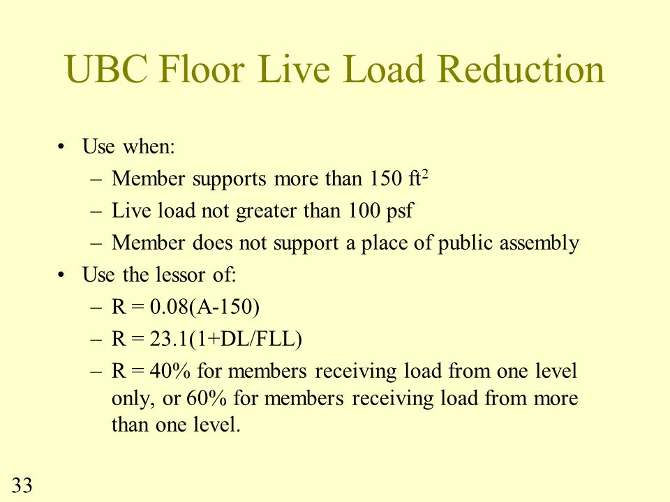 UBC Floor Live Load Reduction