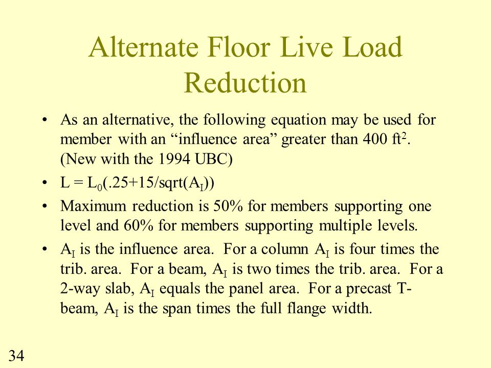 Alternate Floor Live Load Reduction
