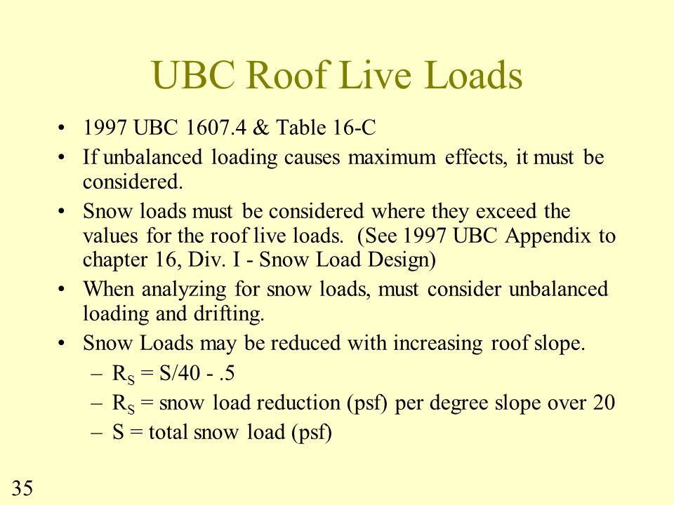 UBC Roof Live Loads 1997 UBC 1607.4 & Table 16-C