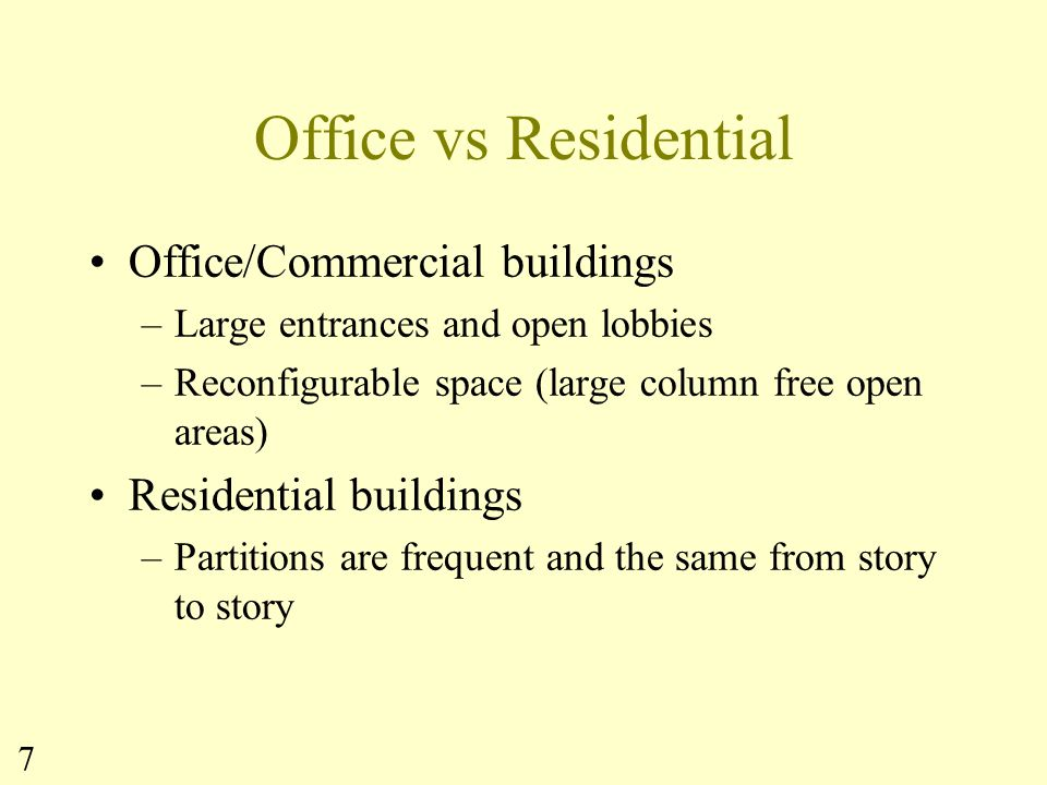Office vs Residential Office/Commercial buildings