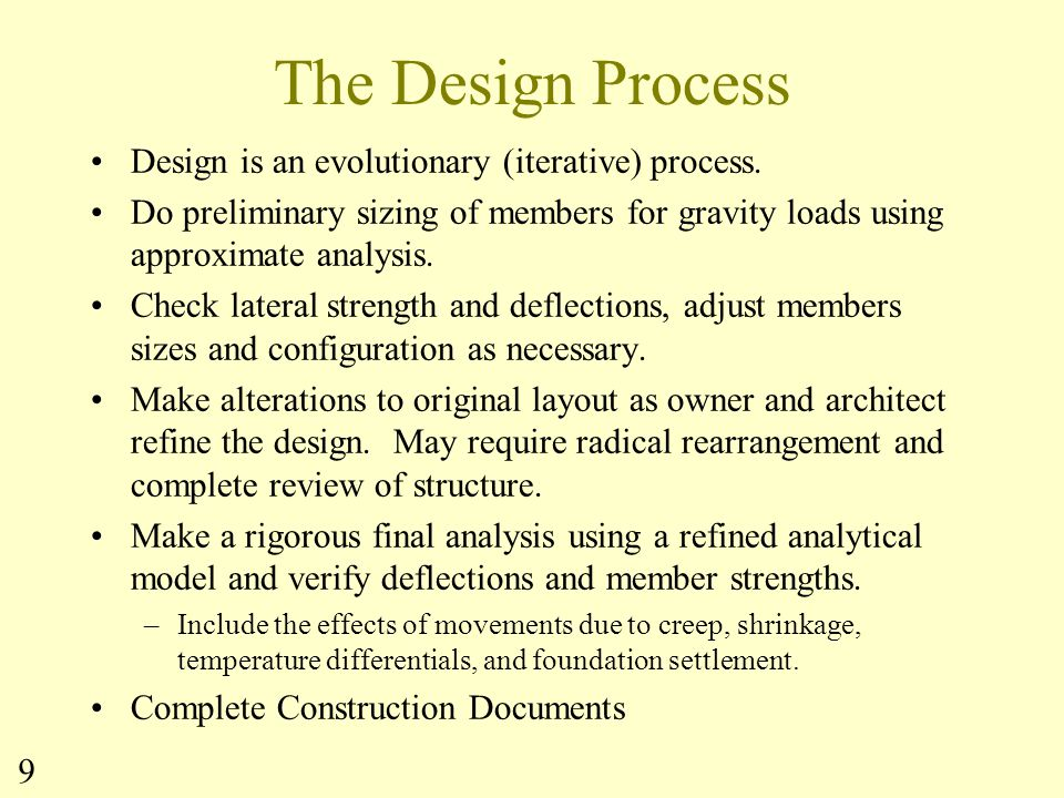 The Design Process Design is an evolutionary (iterative) process.