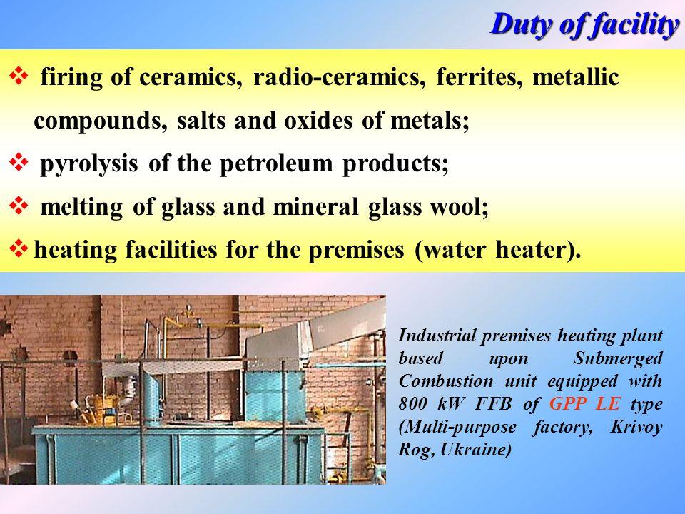 Duty of facility firing of ceramics, radio-ceramics, ferrites, metallic compounds, salts and oxides of metals;