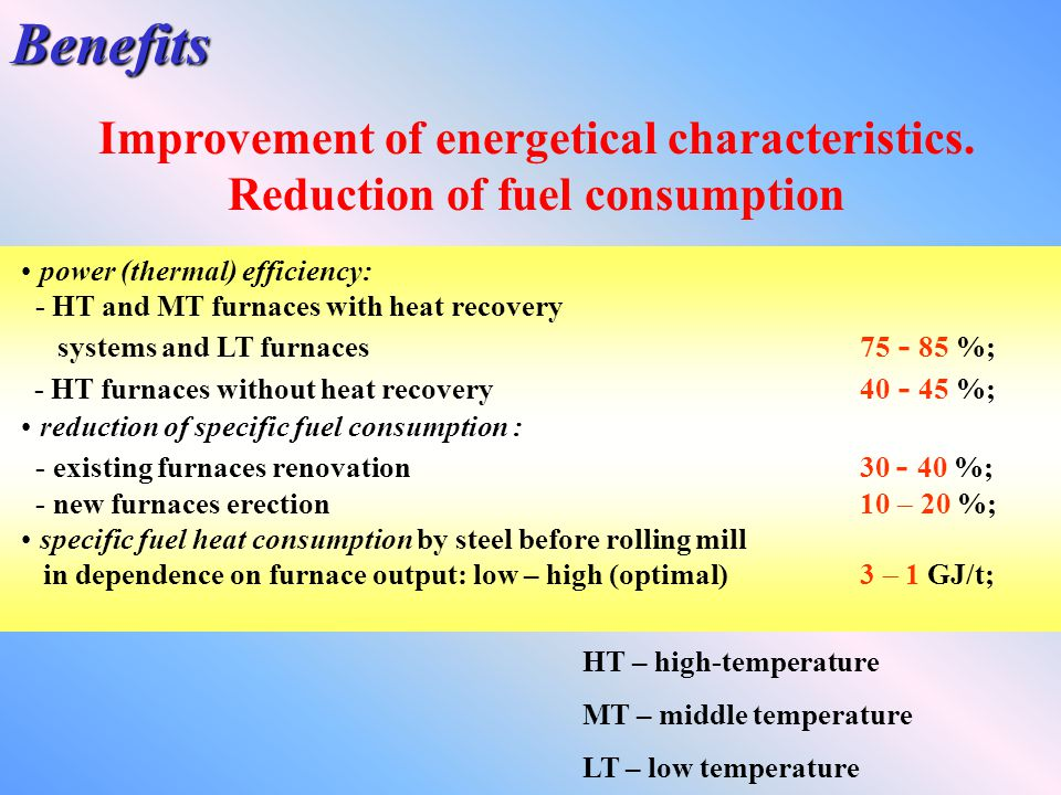 Benefits Improvement of energetical characteristics.
