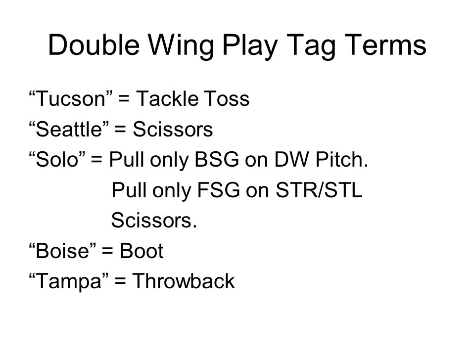 Double Wing Play Tag Terms