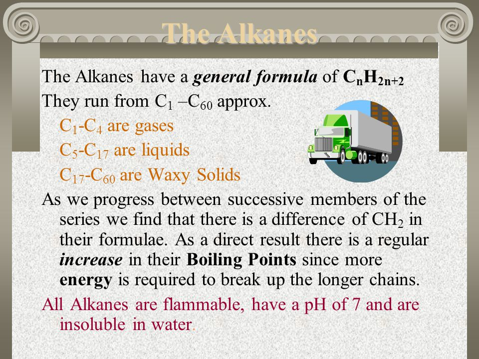 The Alkanes The Alkanes have a general formula of CnH2n+2