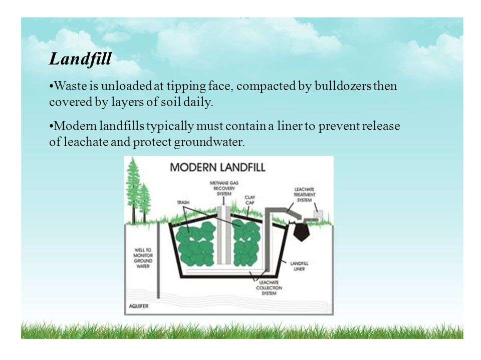 Landfill Waste is unloaded at tipping face, compacted by bulldozers then covered by layers of soil daily.