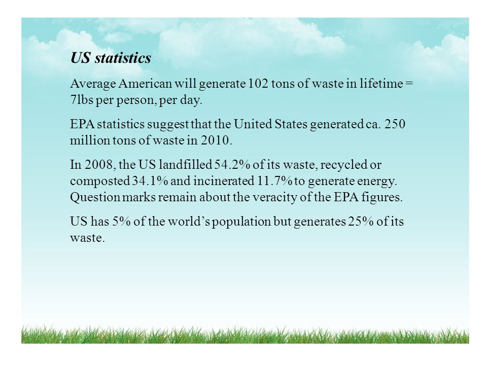 US statistics Average American will generate 102 tons of waste in lifetime = 7lbs per person, per day.