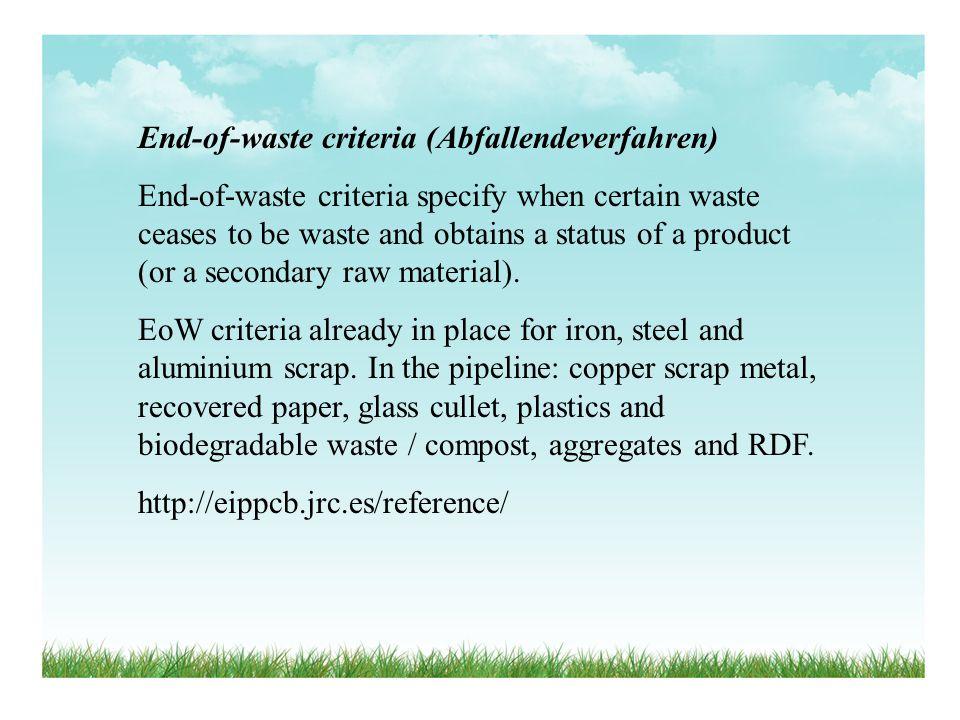 End-of-waste criteria (Abfallendeverfahren)