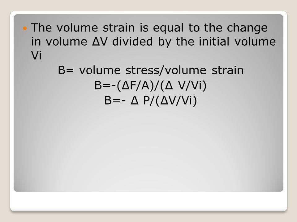 B= volume stress/volume strain
