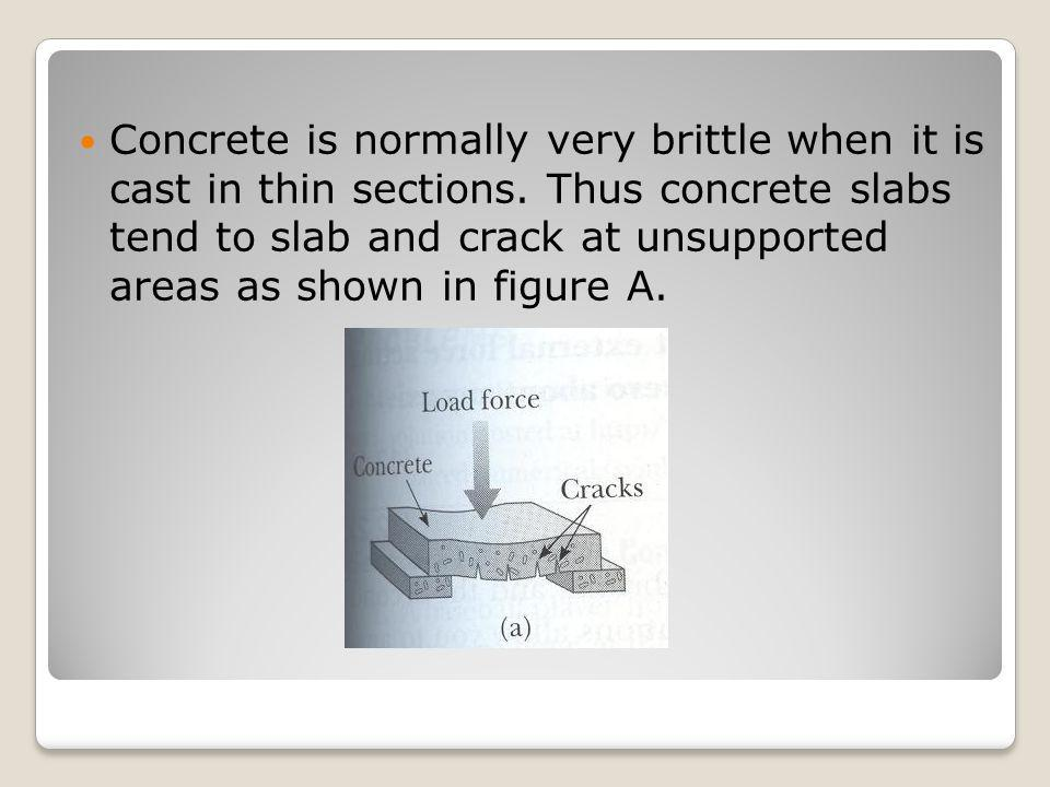 Concrete is normally very brittle when it is cast in thin sections