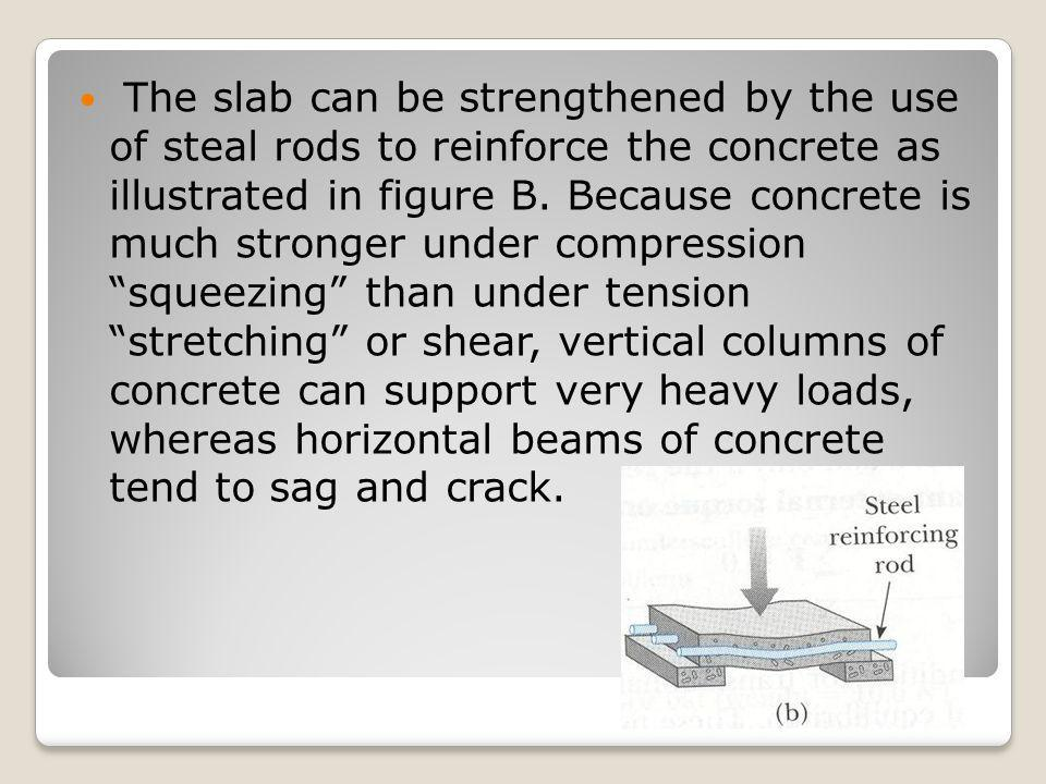 The slab can be strengthened by the use of steal rods to reinforce the concrete as illustrated in figure B.