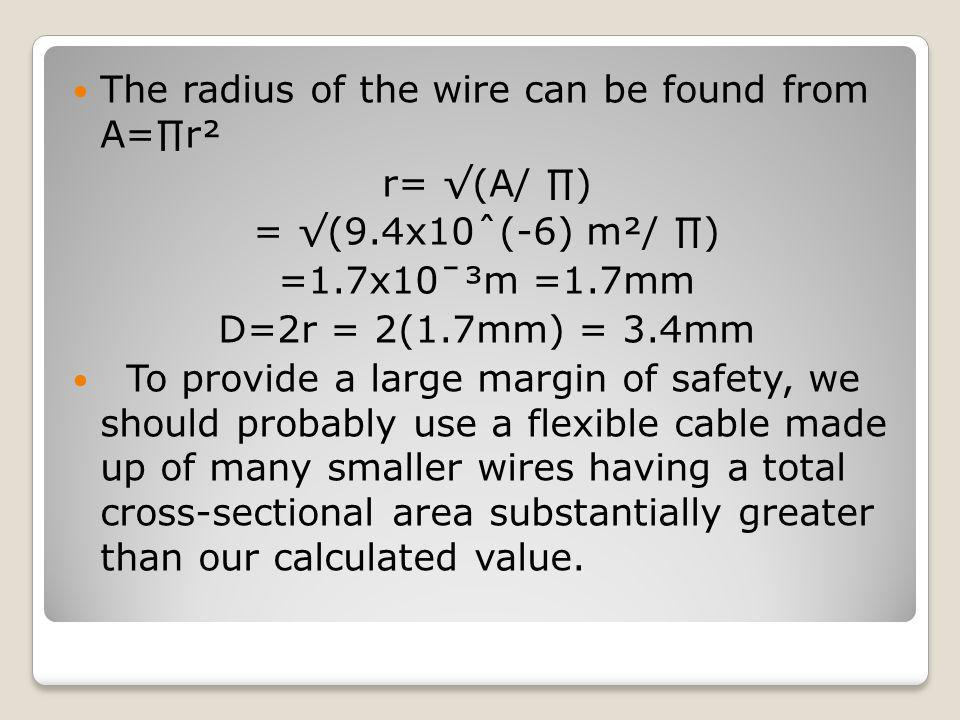 The radius of the wire can be found from A=∏r²