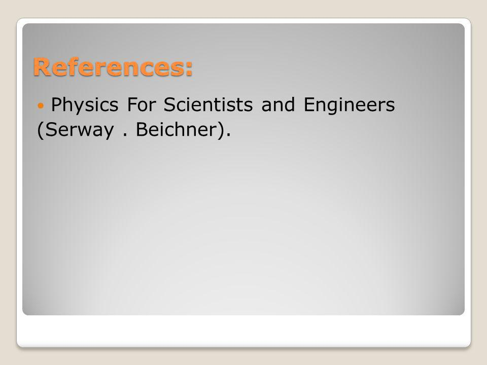 References: Physics For Scientists and Engineers (Serway . Beichner).