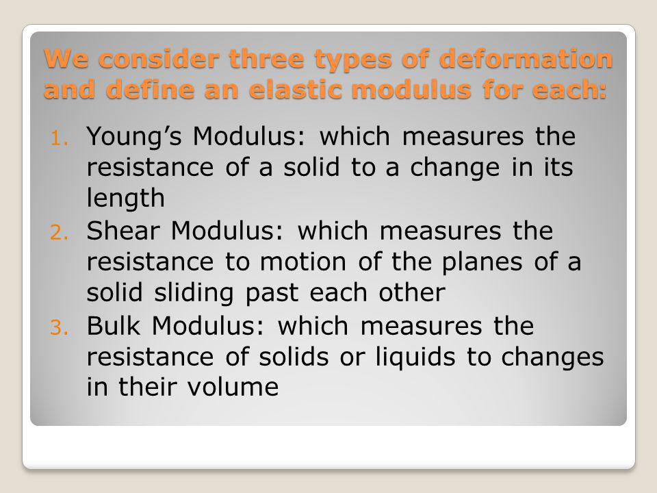 We consider three types of deformation :and define an elastic modulus for each