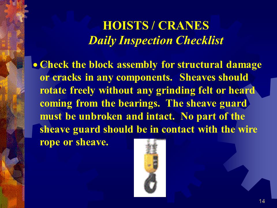 HOISTS / CRANES Daily Inspection Checklist