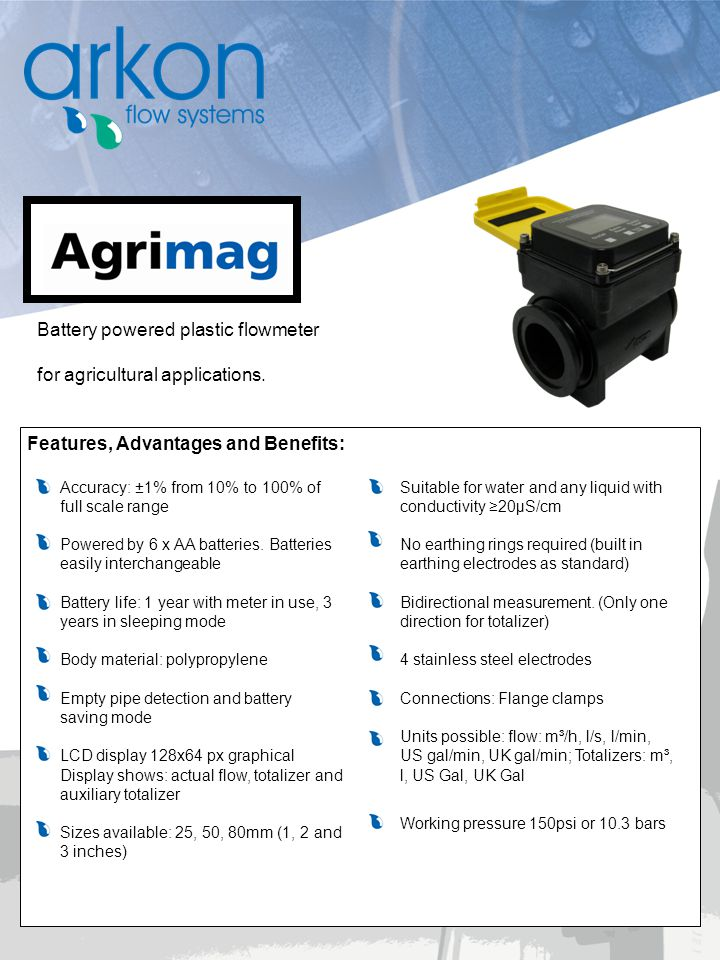 Battery powered plastic flowmeter for agricultural applications.