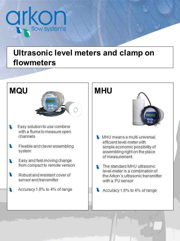 Ultrasonic level meters and clamp on flowmeters