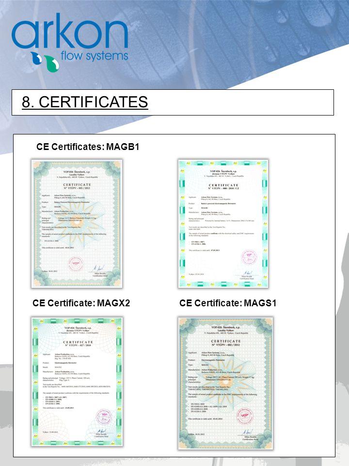 8. CERTIFICATES CE Certificates: MAGB1 CE Certificate: MAGX2