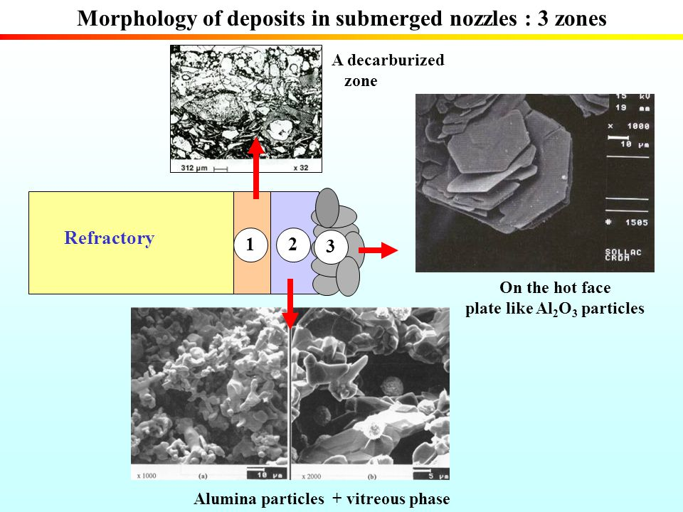 Morphology of deposits in submerged nozzles : 3 zones