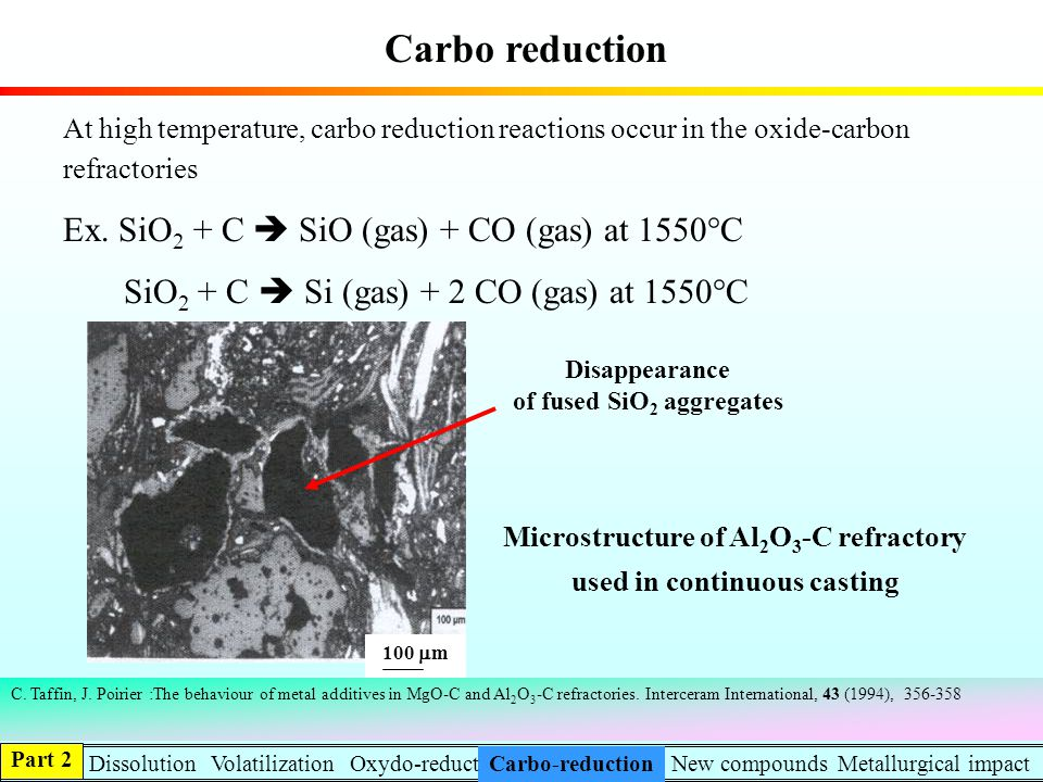 Carbo reduction Ex. SiO2 + C  SiO (gas) + CO (gas) at 1550°C