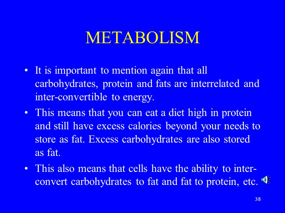 METABOLISM It is important to mention again that all carbohydrates, protein and fats are interrelated and inter-convertible to energy.