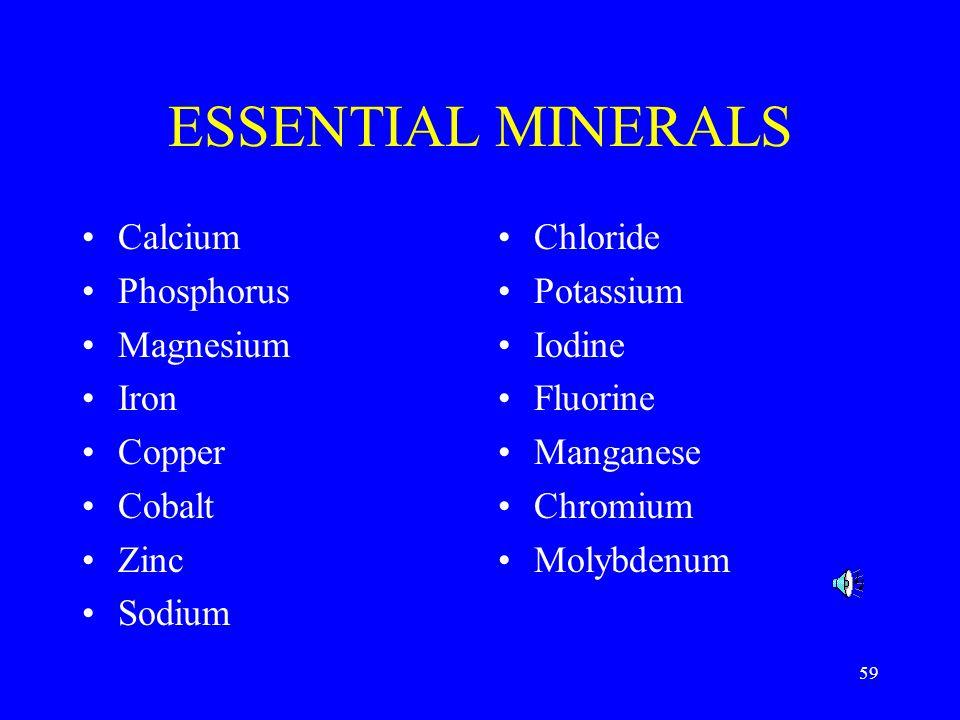 ESSENTIAL MINERALS Calcium Phosphorus Magnesium Iron Copper Cobalt