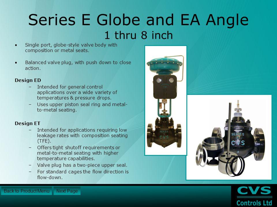 Series E Globe and EA Angle 1 thru 8 inch