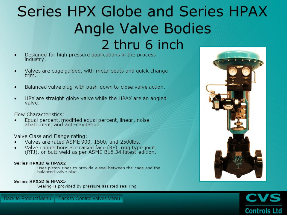 Series HPX Globe and Series HPAX Angle Valve Bodies 2 thru 6 inch