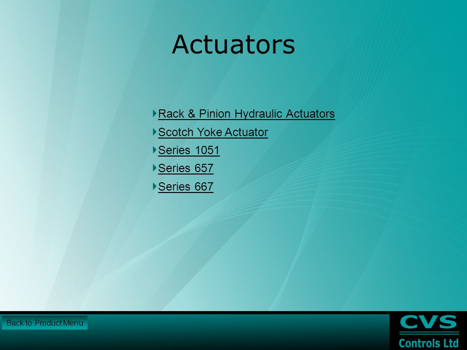 Actuators Rack & Pinion Hydraulic Actuators Scotch Yoke Actuator