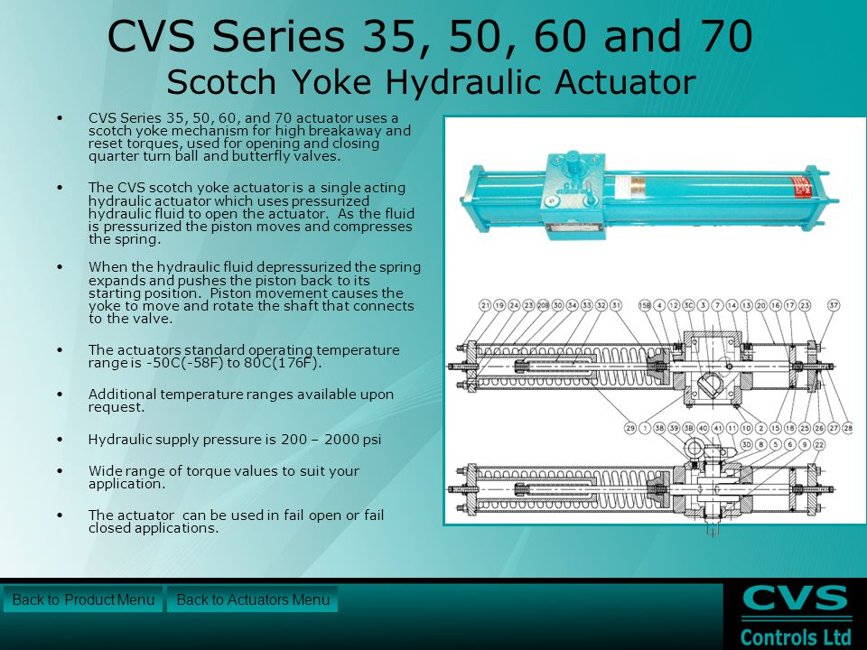 CVS Series 35, 50, 60 and 70 Scotch Yoke Hydraulic Actuator