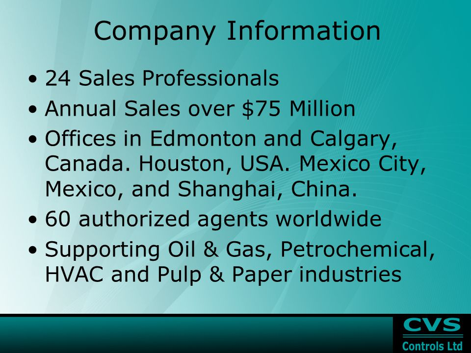 Company Information 24 Sales Professionals