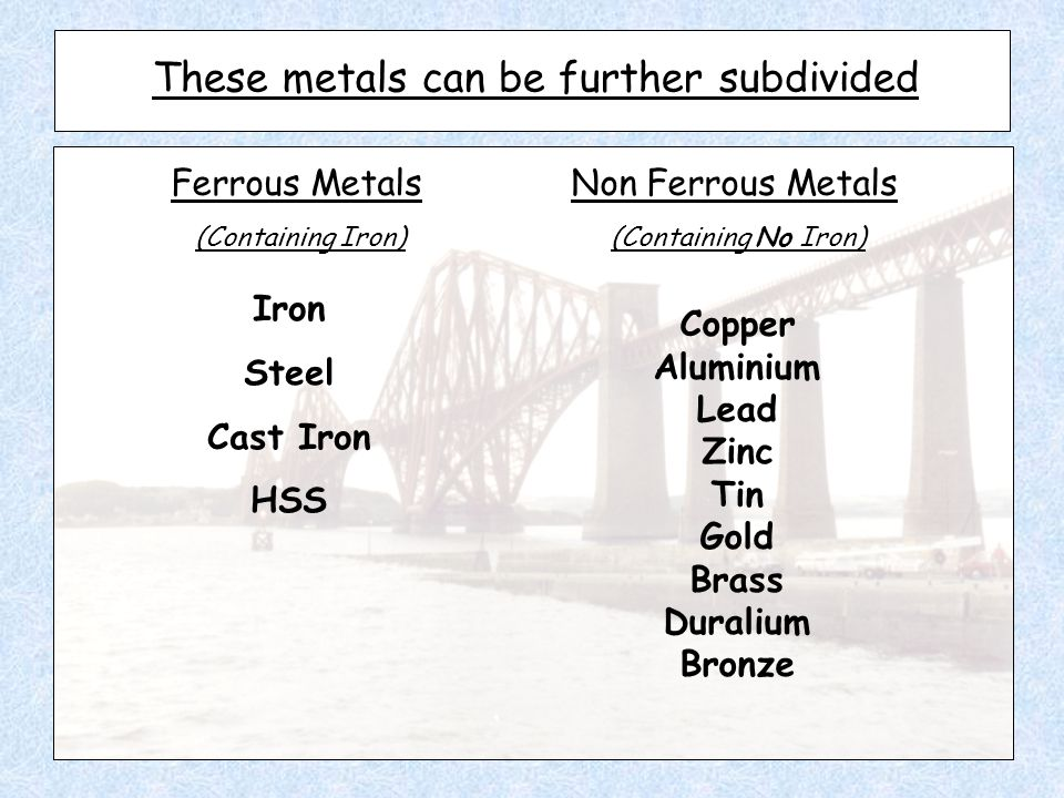 These metals can be further subdivided