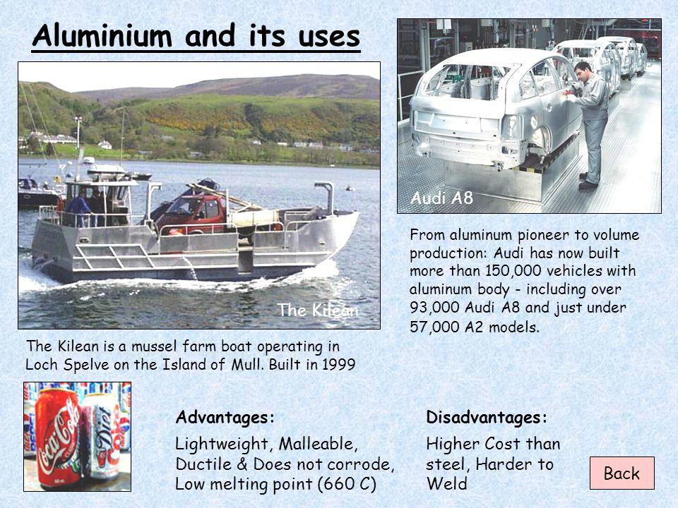 Aluminium and its uses Audi A8 The Kilean Advantages: Disadvantages: