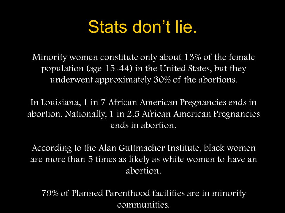 79% of Planned Parenthood facilities are in minority communities.
