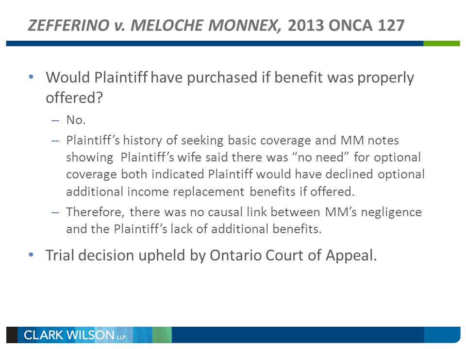 ZEFFERINO v. MELOCHE MONNEX, 2013 ONCA 127